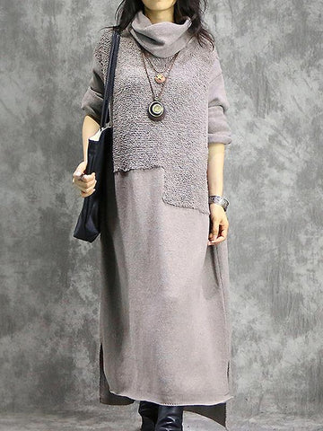 Casual Vintage Loose Cotton and Linen Knit Long Sleeve Maxi Sweater Dress