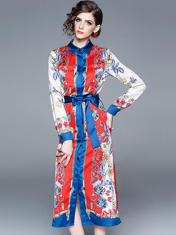 Elegant Fashion Print Turn-Down Collar Long Sleeve Buttoned Satin One-Step Dress