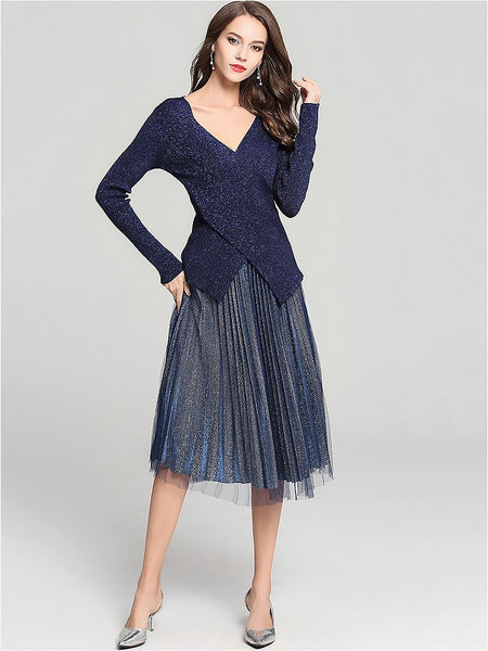 Chic Two-Piece Suit V-Neck Long Sleeve Knitwear & Pleated Midi Dress