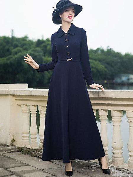 Vintage Pure Color Turn-Down Collar Big Hem Maxi Dress