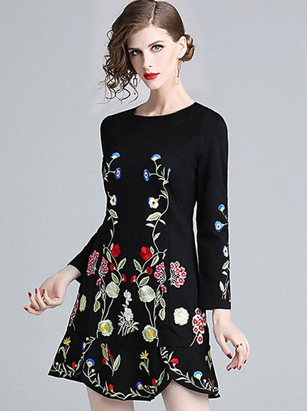 Casual Chic Floral Embroidery O-Neck Long Sleeve Irregular Hem A-Line Dress
