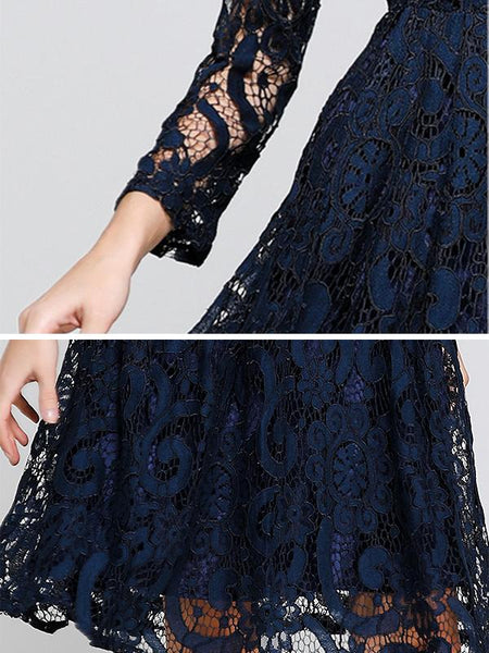 Vintage Lace Hollow Out Stand Collar Long Sleeve A-Line Dress