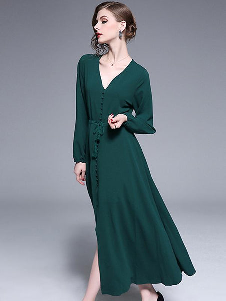 Elegant Pure Color Single-Breasted V-Neck Lacing Slit Big Hem Maxi Dress