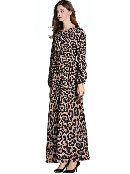 Vintage Leopard Print Puff Sleeve Lacing Big Hem Slim Maxi Dress