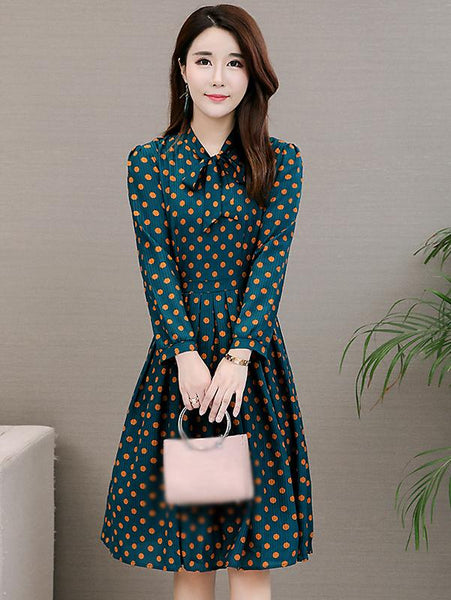 Casual Polka Dot V-Neck Long Sleeve Dress