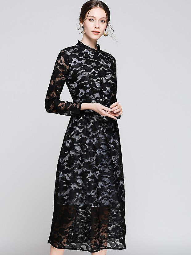 Vintage Hollow Out Lace Falbala Stand Collar Long Sleeve Maxi Dress