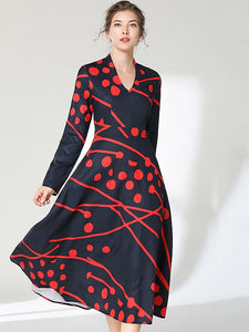 Vintage Print V-Neck Long Sleeve Zipper A-Line Midi Dress