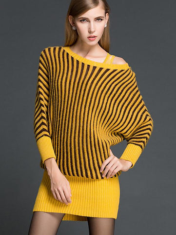 Fashion Stripe Knitted Strapless Long Sleeve Sweater Bodycon Dress