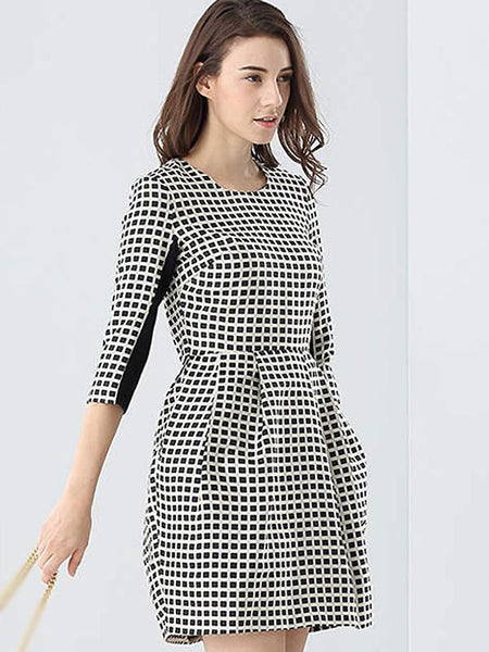 Suave cotton Plaid 3/4 Sleeve Skater Puff Dress