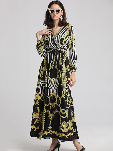 Stylish Print V-Neck Long Sleeve Big Hem Lacing Maxi Dress