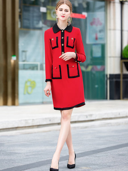 Simple Hit Color Turn-Down Collar Long Sleeve Pocket Gathered Waist Dress