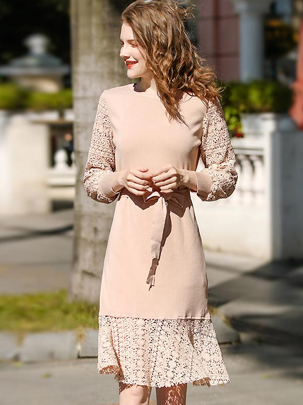 Sweet Knitted Stitching Hollow OutO-Neck Midi Dress