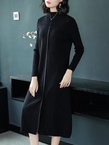 Elegant Pure Color O-Neck Long Sleeve Sweater Shfit Dress