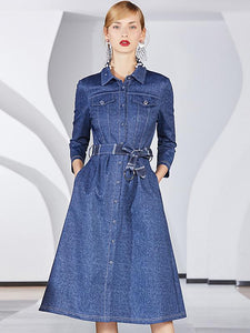 Casual Fashion Button Down Cotton Denim Long Sleeve Belted Midi Dress