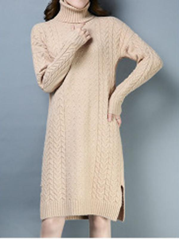 Casual Pure Color Stand Collar Long Sleeve Sweater Shfit Dress