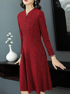 Elegant Chinoiserie Pure Color V-Neck Long Sleeve A-Line Midi Dress