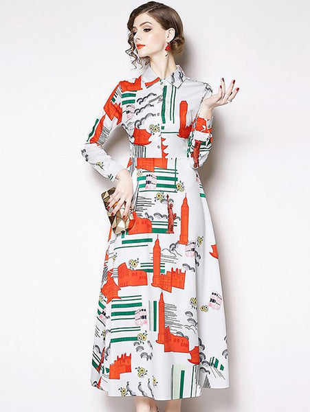 Elegant Print Turn-Down Collar Single-Breasted Skater Maxi Dress