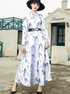 Suave Print Cheongsam Collar High Wasit Maxi Dress