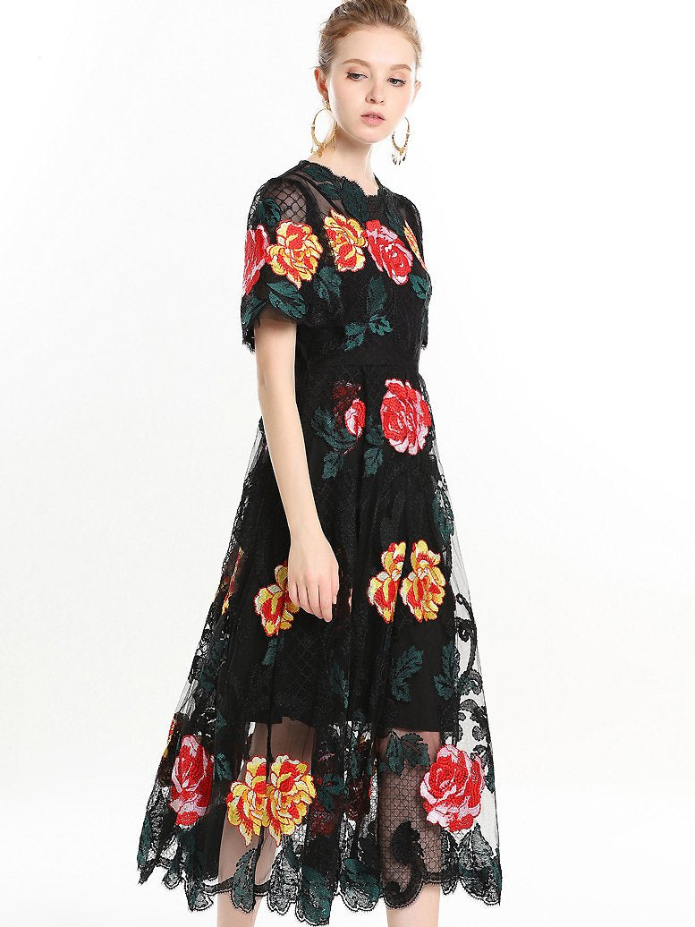 Simple Rose Embroidery Stitching Mesh Midi Dress