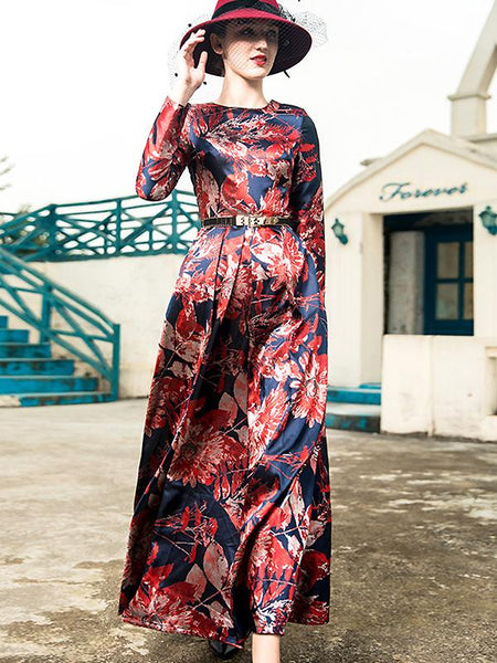 Vintage Floral Print O-Neck Collect Waist Big Hem Maxi Dress