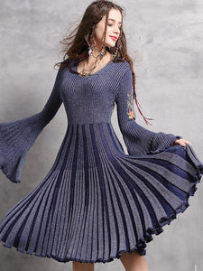 Chic Embroidery Knitted Pure Color Flare Sleeve Bodycon Big Hem Dress