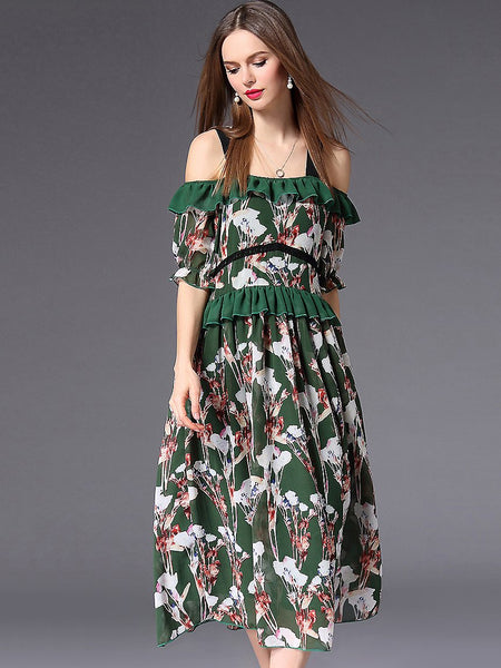 Holiday Chic Floral Print Ruffled Backless Maxi Dress