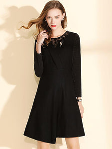 Elegant Irregular Lace Stitching O-Neck Long Sleeve A-Line Dress