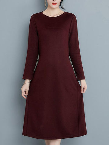 Simple Pure Color O-Neck Long Sleeve A-line Midi Sweater Dress
