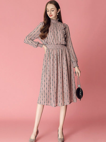 Sweet Ruffled Stripe Stitching Stand Collar Big Hem Midi Dress