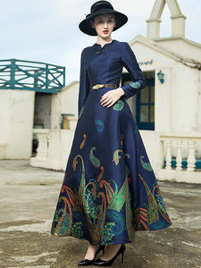 Classic Jacquard Cheongsam Collar High Waist Maxi Dress