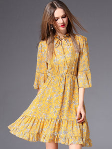 Chic Floral Print Stand Collar Flare Sleeve A-Line Dress