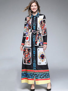 Vintage Poker Print Turn-Down Collar Lacing Shirt Maxi Dress
