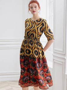 Silk Floral Print O-Neck Half Sleeve Collect Waist Big Hem Midi Dress