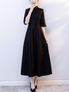Noble Pure Color Stand Collar 3/4 Sleeve Fit & Flare Maxi Dress