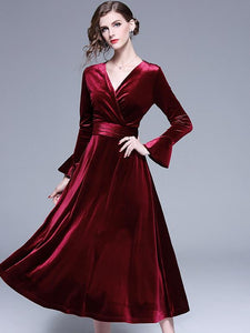 Pure Color Velour V-Neck Flare Sleeve Big Hem A-Line Dress
