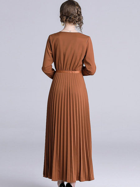 Pure Color V-Neck Long Sleeve Pleatd Big Hem Maxi Dress