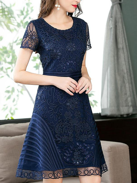 Floral Embroidery Stitching O-Neck Short Sleeve A-Line Dress