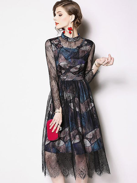 Lace Stitching See-Through Stand Collar Long Sleeve Collect Waist Skater Dress