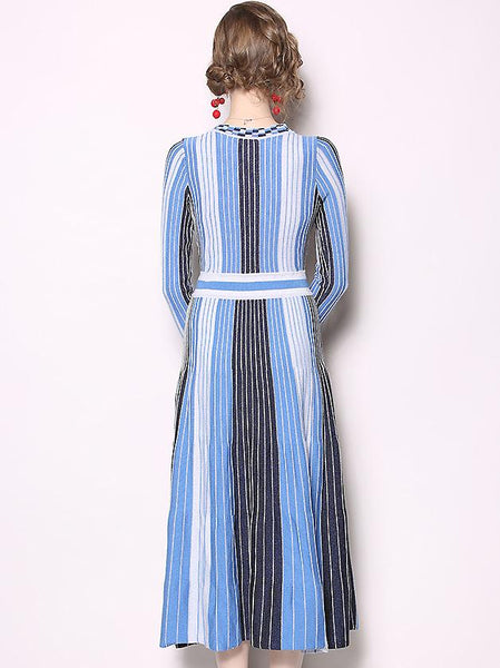 Stripe Stitching V-Neck Long Sleeve High Waist Pleated Midi Dress