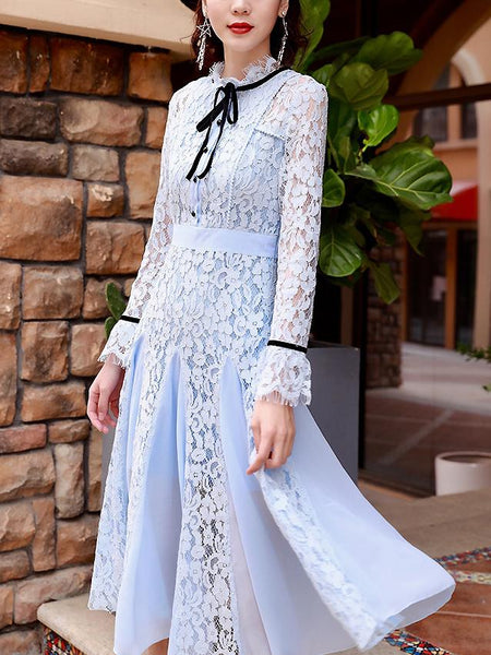 Lace Bowknot Collar Long Sleeve Single-Breasted A-Line Dress