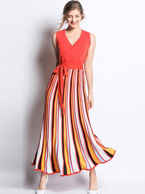 Summer Stripe Knit V-Neck Sleeveless Lacing Maxi Dress