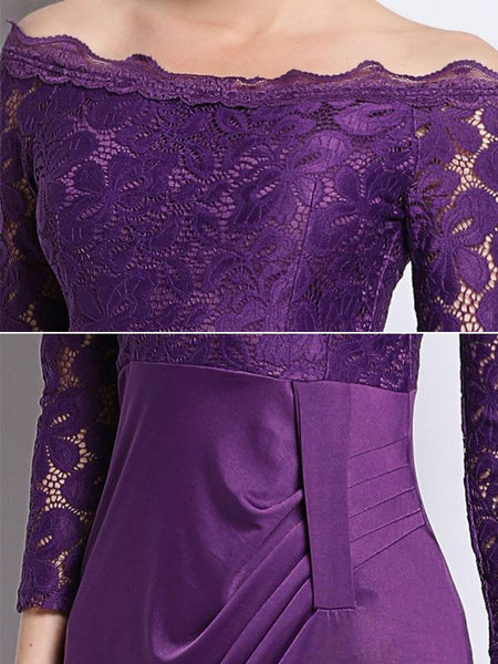 Party Lace Stitching Velour Boat Neck 3/4 Sleeve Pencil MaxiDress