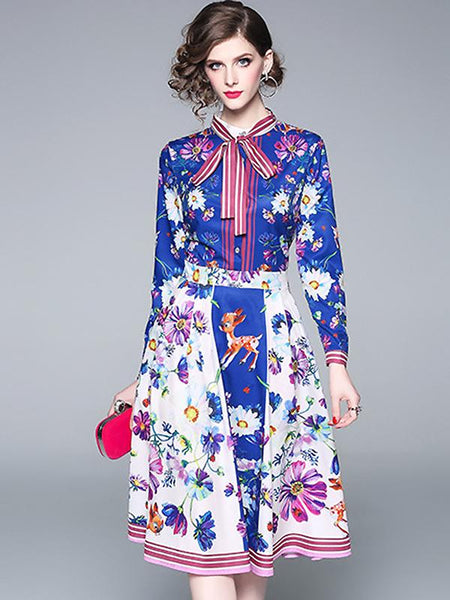 Floral Print Bow Tie Long Sleeve Collect Waist A-Line Dress