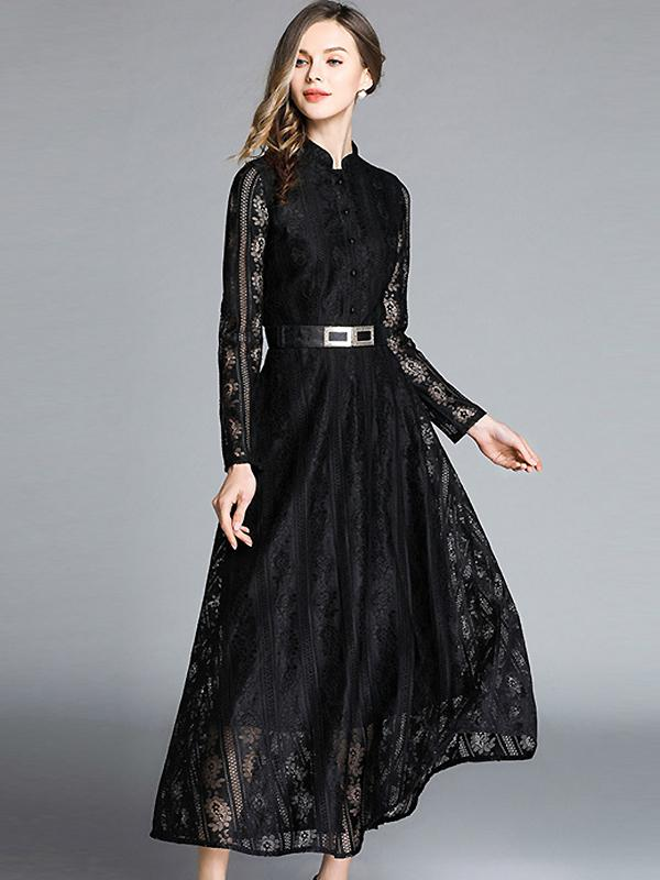 Hollow Out Lace Stand Collar Long Sleeve Big Hem Dress