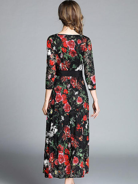 Floral Print Lace O-Neck 3/4 Sleeve Lacing Big Hem Maxi Dress