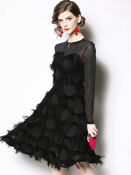 Party Tassels Stitching Mesh O-Neck Long Sleeve Little Black Dress