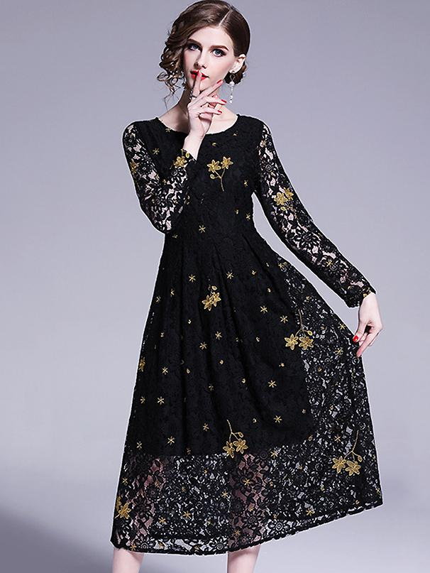 Simple Embroidery O-Neck Lace Stitching Long Sleeve Skater Dress