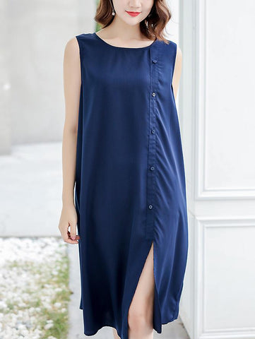 Brief O-Neck Sleeveless Single-Breasted Split Dress