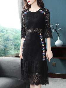 Hollow Out Lace Embroidery O-Neck Half Flare Sleeve Midi Dress
