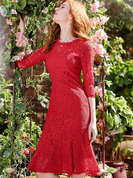 Party Lace Hollow Out O-Neck 3/4 Sleeve Mermaid Dress